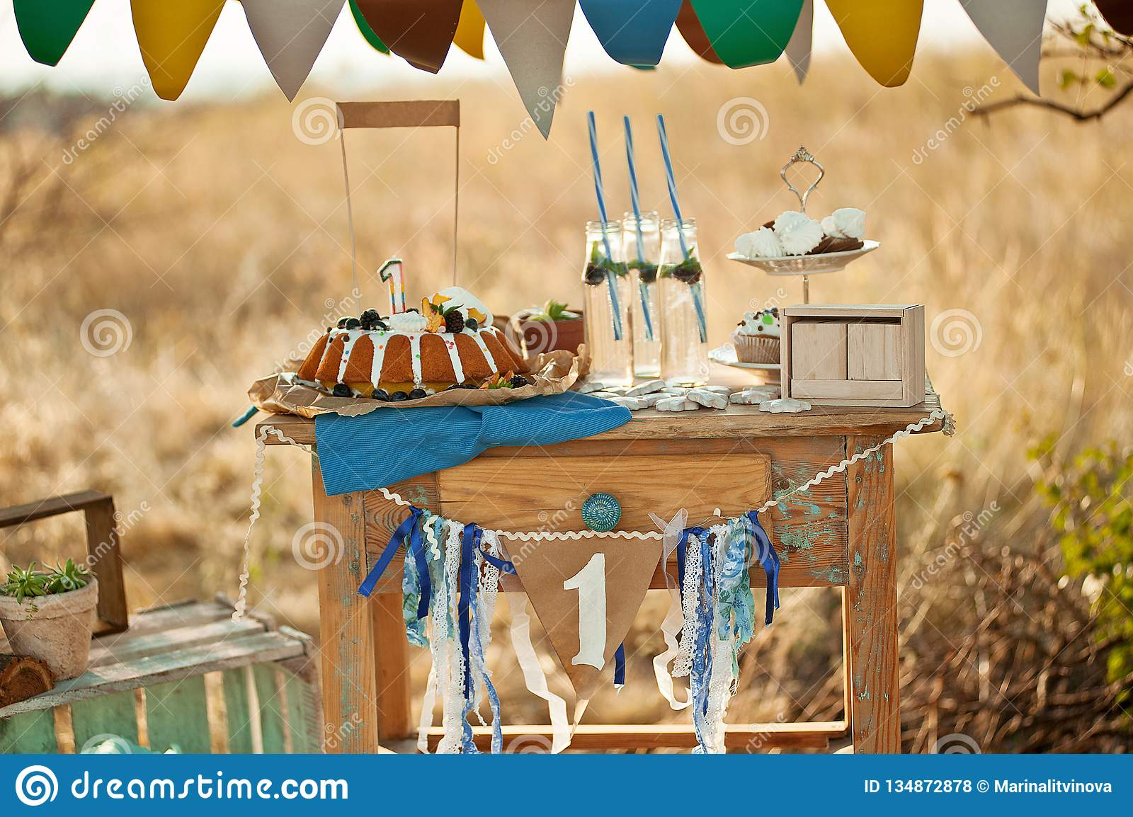 Outdoor Candy Bar And Decorations For Birthday Party Stock Photo Image Of Dessert Beautiful 134872878