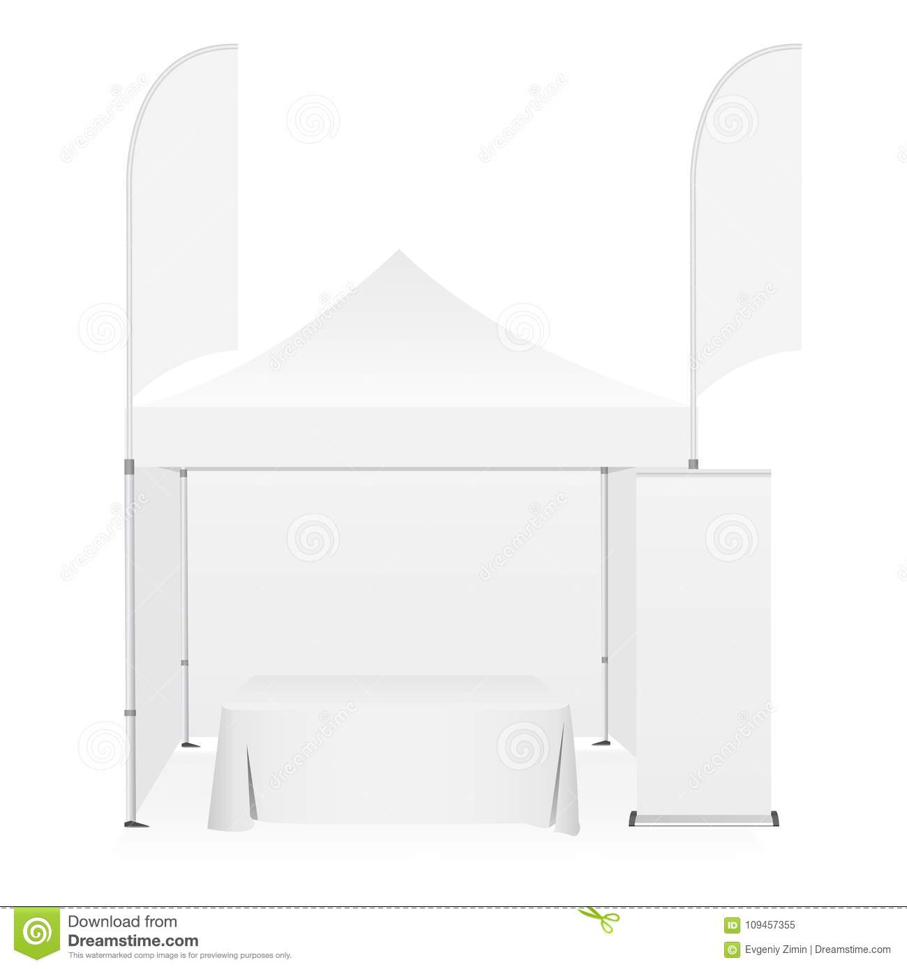Outdoor canopy tent with two sided banner flags demonstration table and roll-up stand.  sc 1 st  Dreamstime.com & Outdoor Canopy Tent With Two Sided Banner Flags Demonstration Table ...