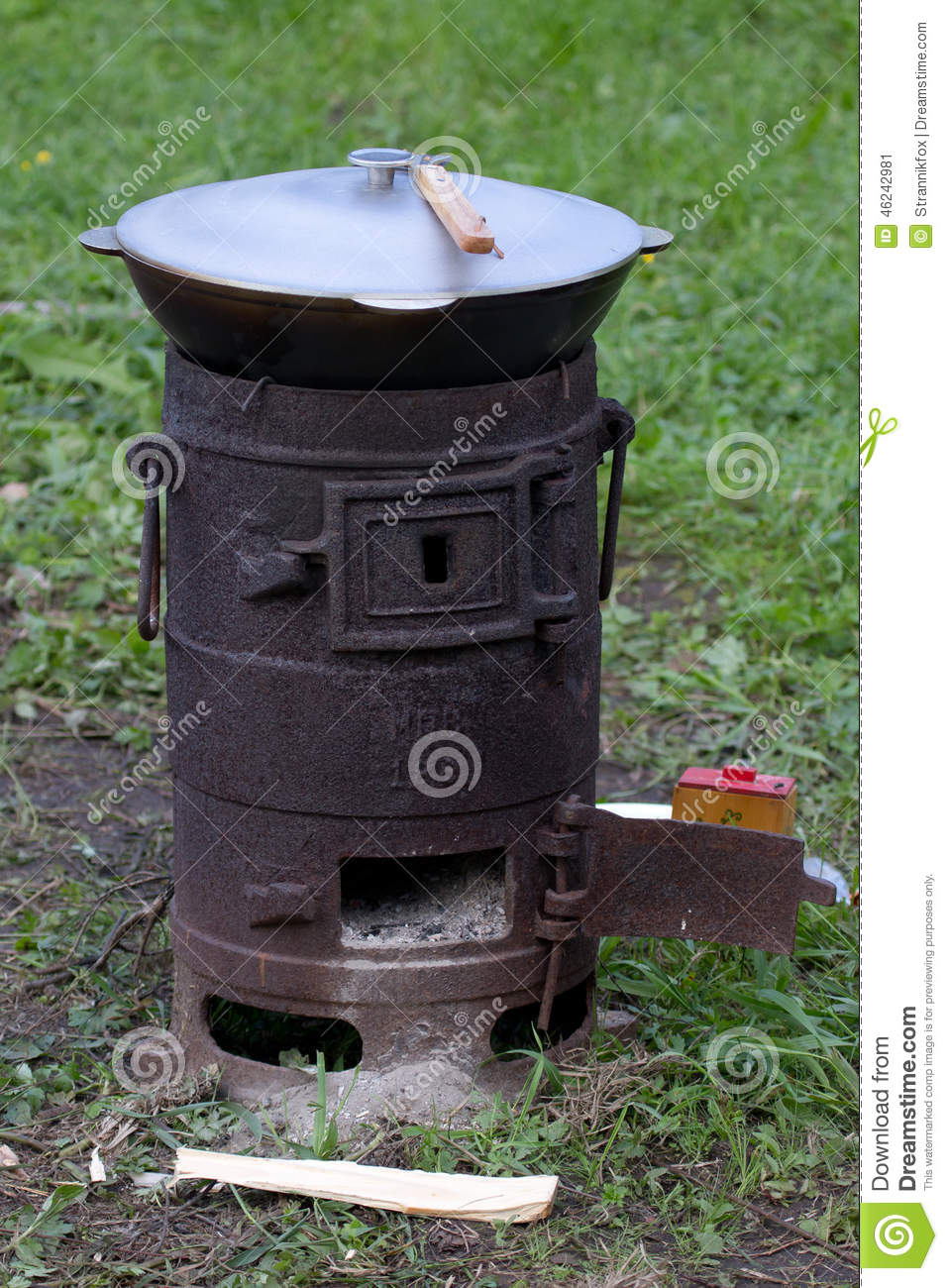 Outdoor Cast Iron Stove With A Bowler Stock Image Image