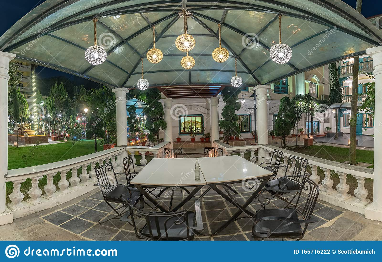 Outdoor Casual Dining Area With Table And Chairs Stock Photo Image Of Travel Cafe 165716222