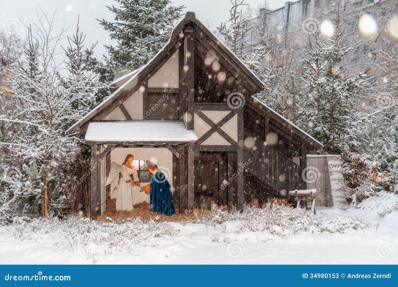 Outdoor Christmas Crib Stock Photos Image 34980153