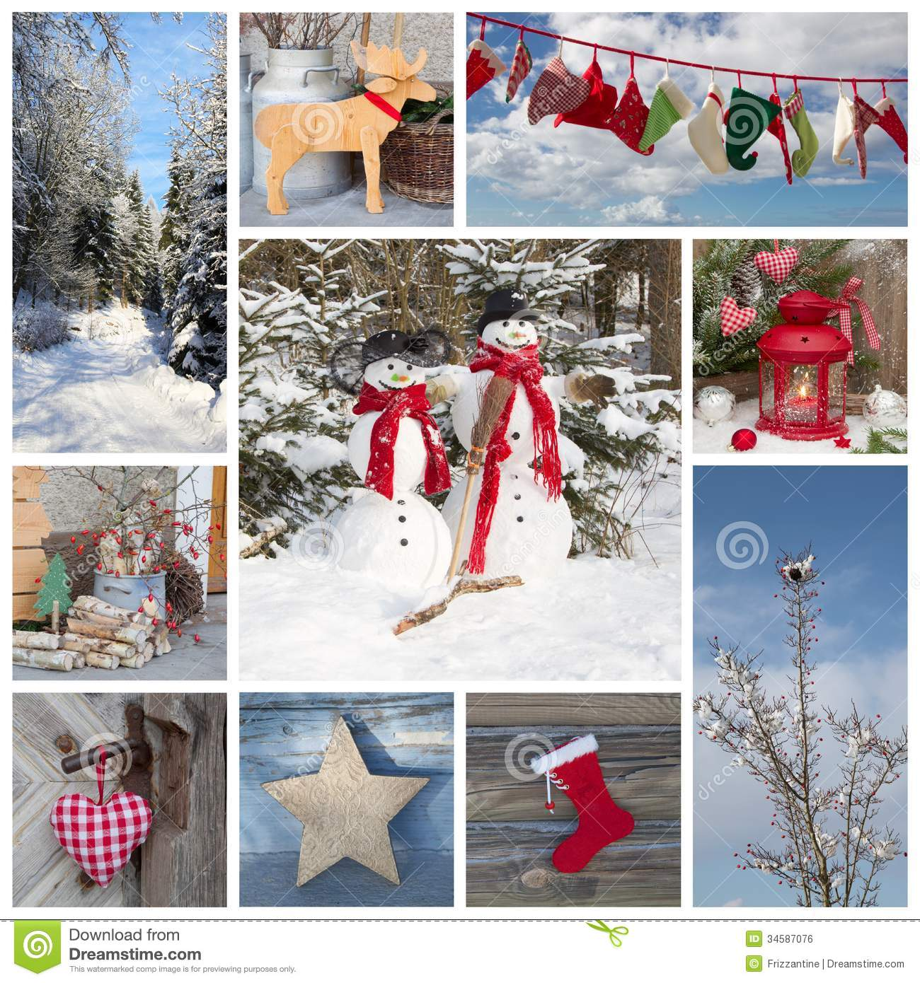 outdoor christmas decoration in country style in blue and red fo