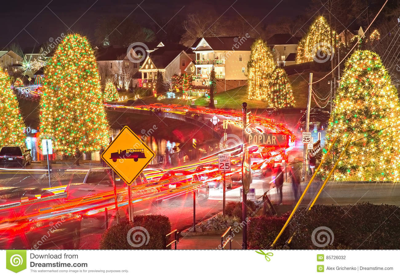 download outdoor christmas decorations at christmas town usa editorial photography image of trails light