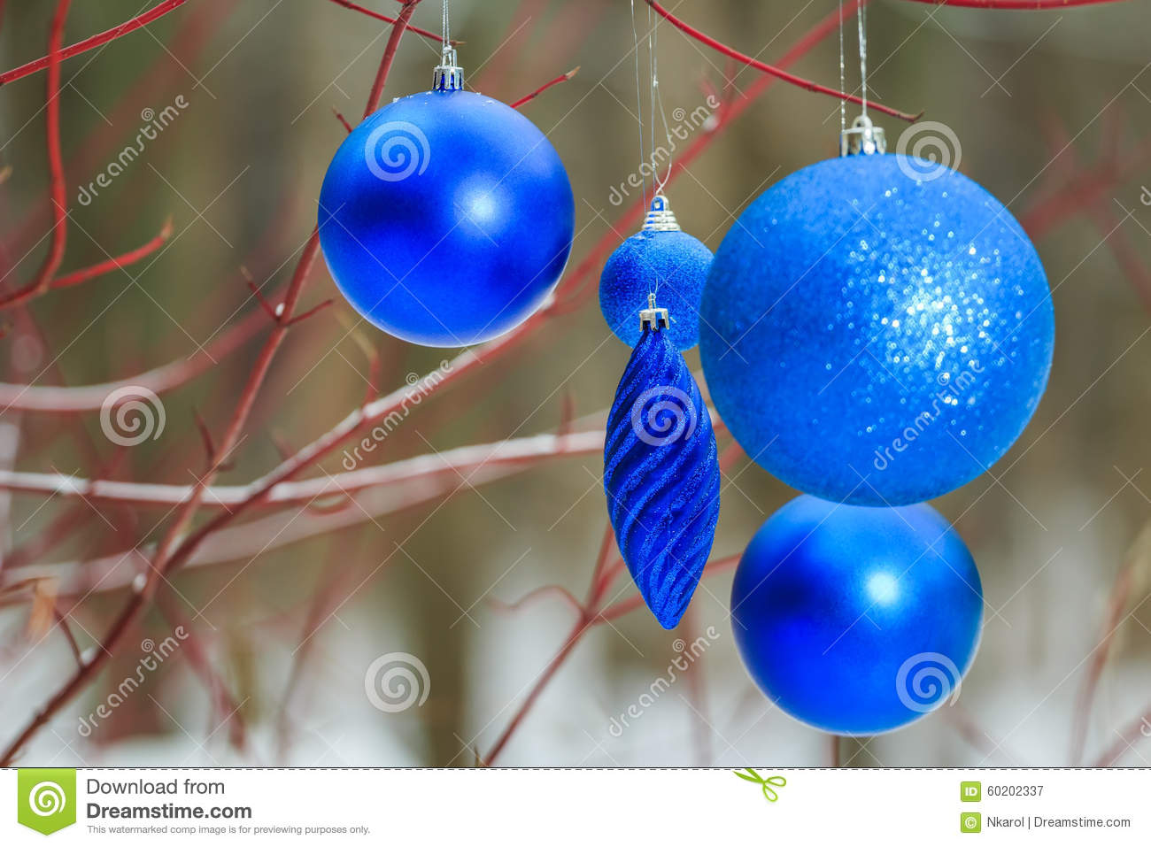 outdoor christmas decorations with deep blue sparkles bauble ornaments hanging on tree red branches - Hanging Outside Christmas Decorations