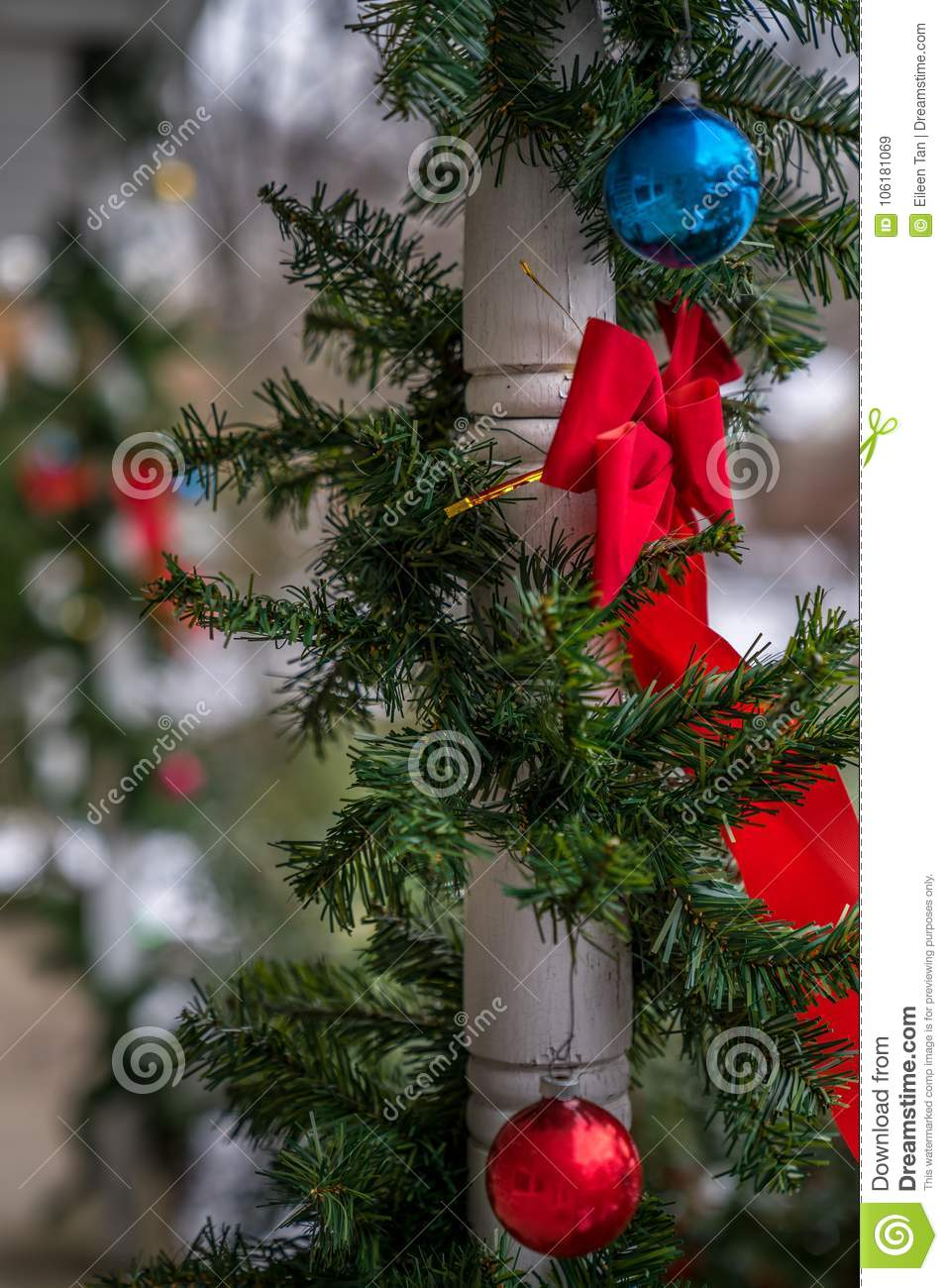 download outdoor christmas decorations stock image image of outdoors snow 106181069 - Christmas Column Decorations