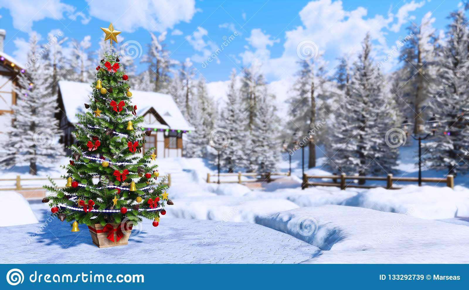 Outdoor Christmas Tree Blurred Winter Background Stock