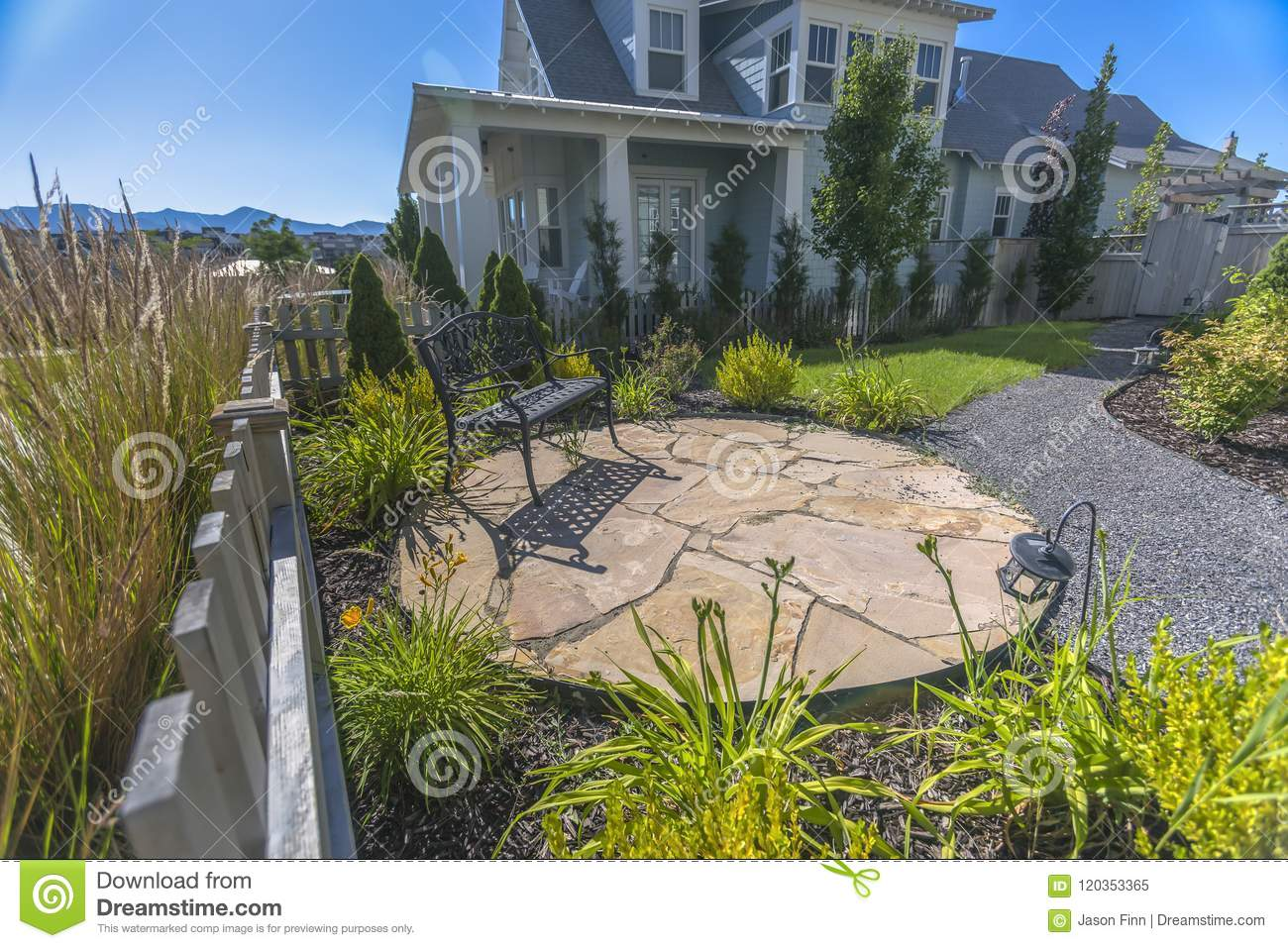 Amazing Outdoor Circular Patio With Bench Stock Image Image Of Creativecarmelina Interior Chair Design Creativecarmelinacom