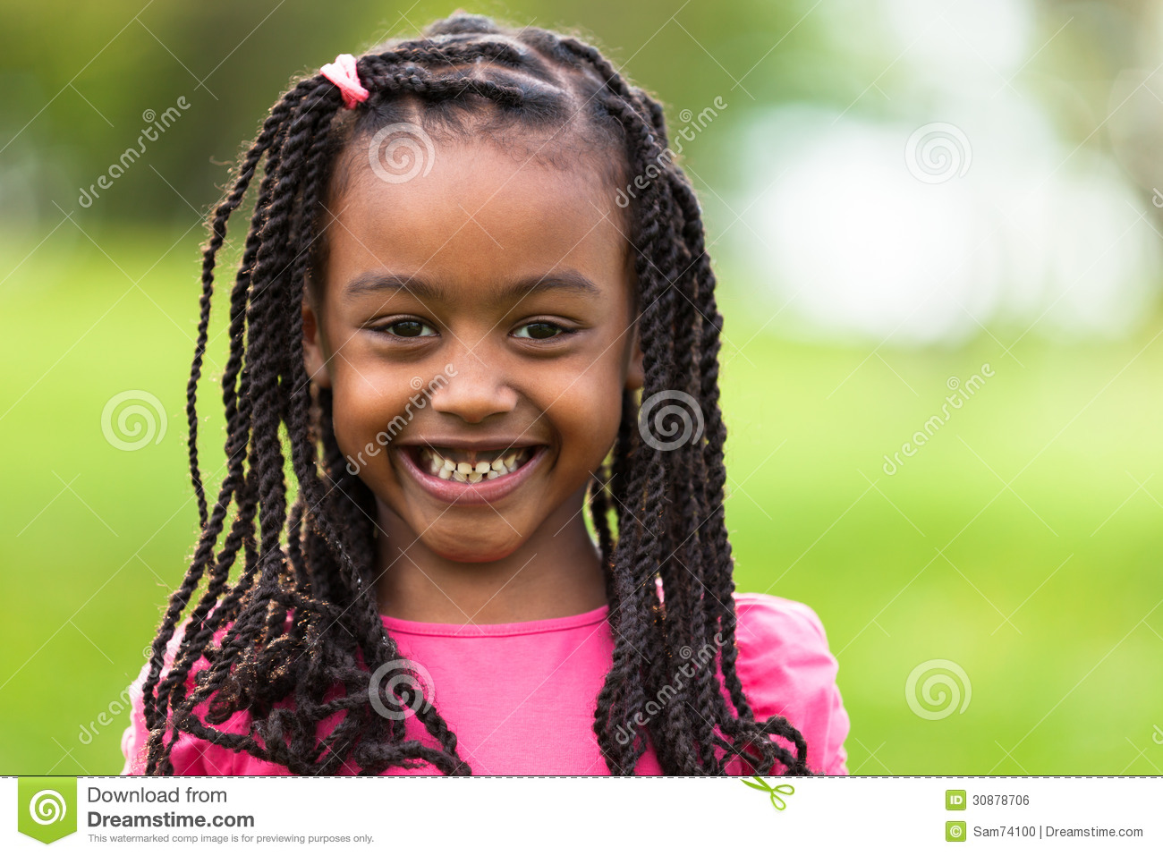 Outdoor Close Up Portrait Of A Cute Young Black Girl   African P  Free P&l Template