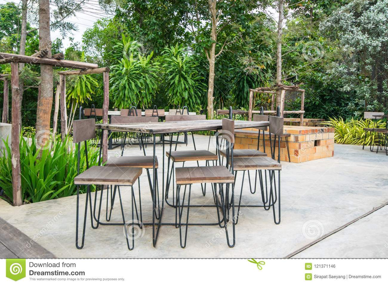 Outdoor Coffee Corner Outdoor Cafe Chairs And Tables In Coffee Shop Stock Photo Image Of Vintage Furniture 121371146