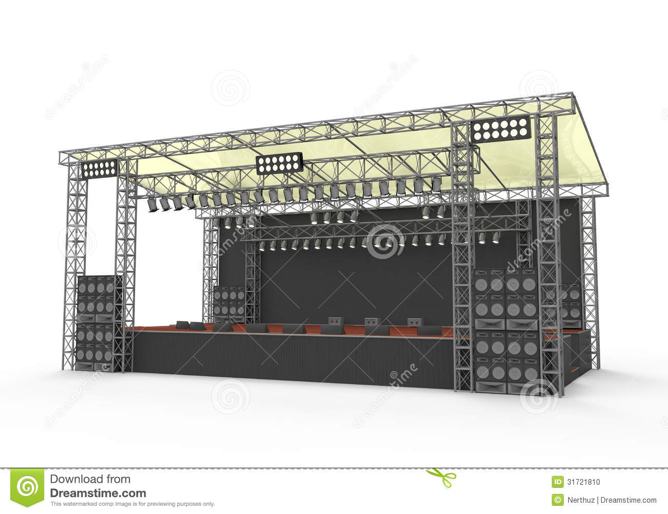 Empty outdoor rock stage - Outdoor Concert Stage Stock Photo