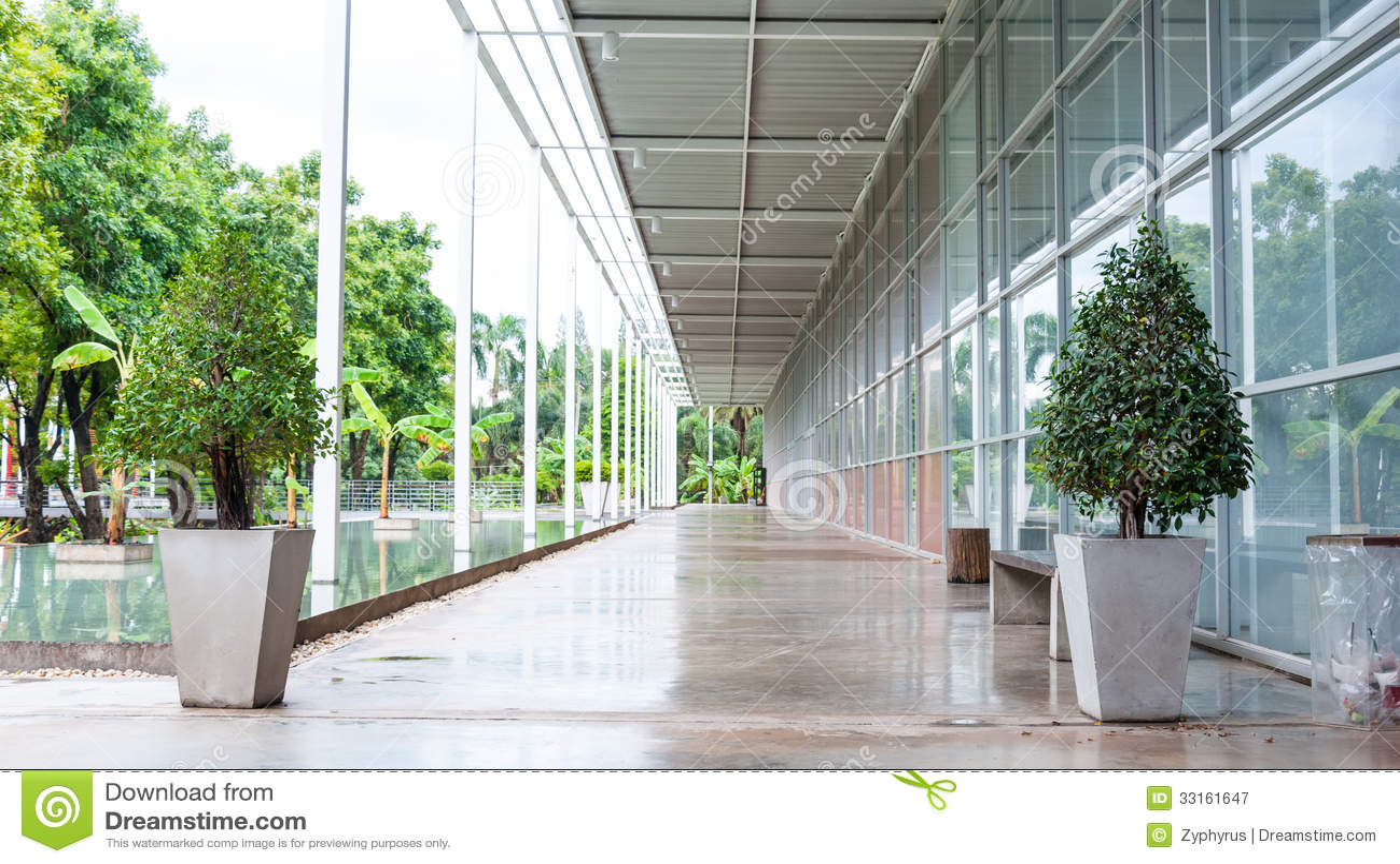 Corridor Roof Design: Outdoor Corridor Of Architecture Perspective Stock Image