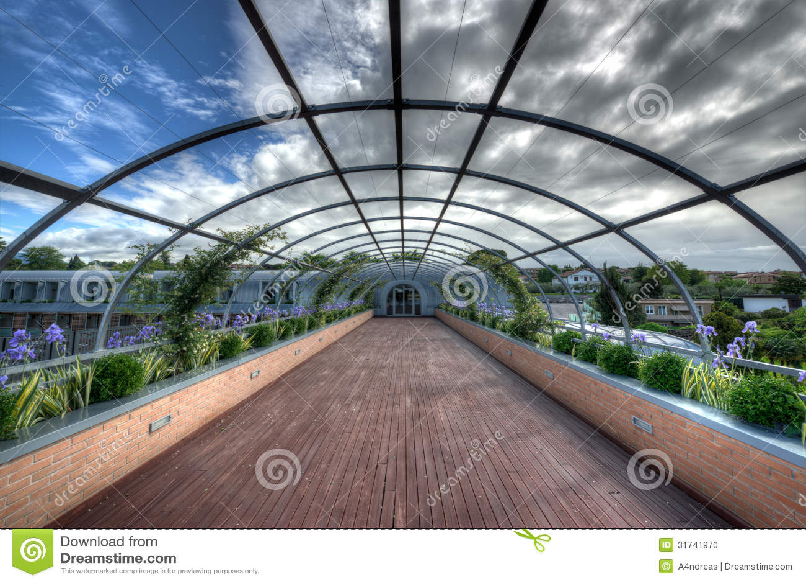 Corridor Roof Design: Outdoor Corridor Pergola Stock Photo