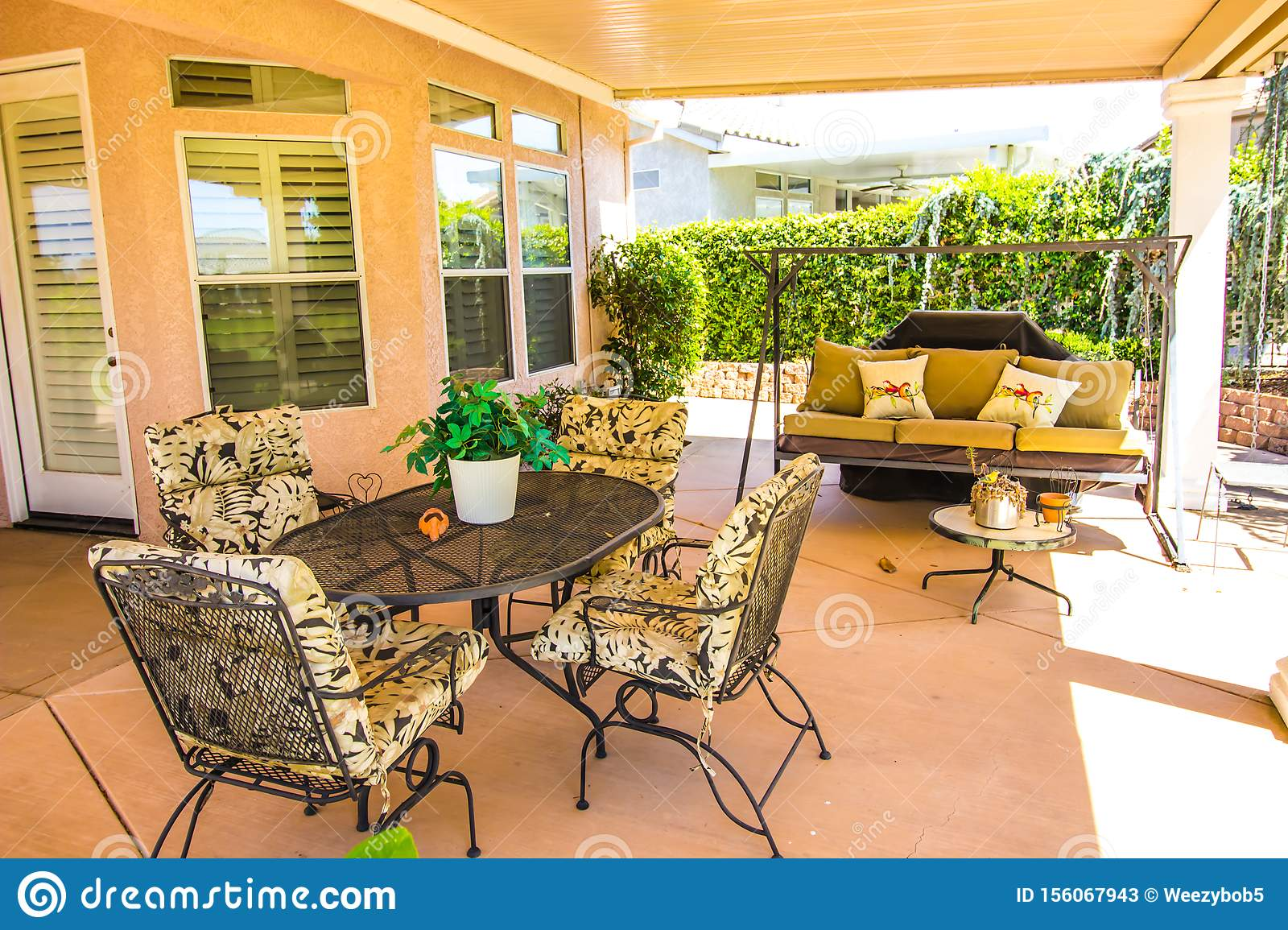 Outdoor Furniture Under Covered Patio Stock Image Image Of Outdoors House 156067943