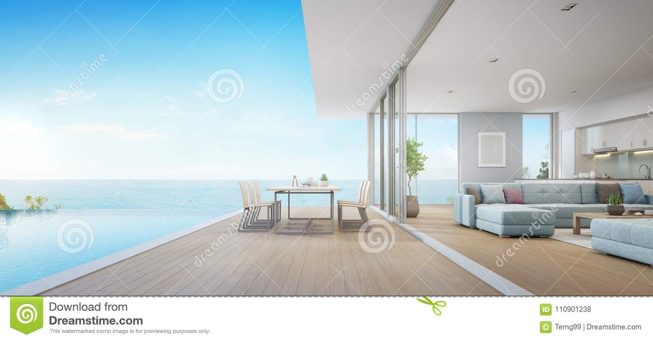 Outdoor Dining And Sea View Living Room Beside Kitchen Of