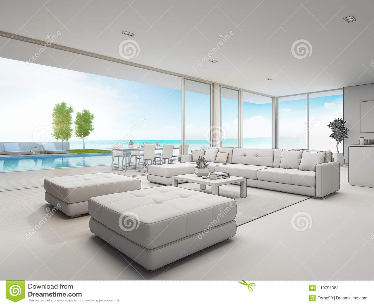 Outdoor dining and sea view living room of luxury beach house with terrace near swimming pool