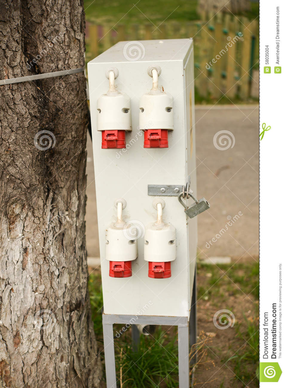 Outdoor Electric Control Box Stock Photo - Image of label