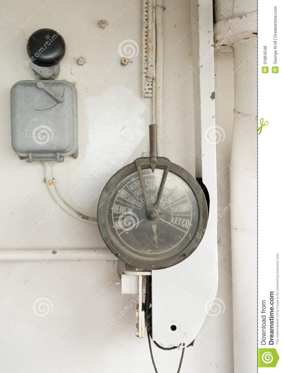 Engine Room Telegraph: Outdoor Engine Room Telegraph Royalty Free Stock Image
