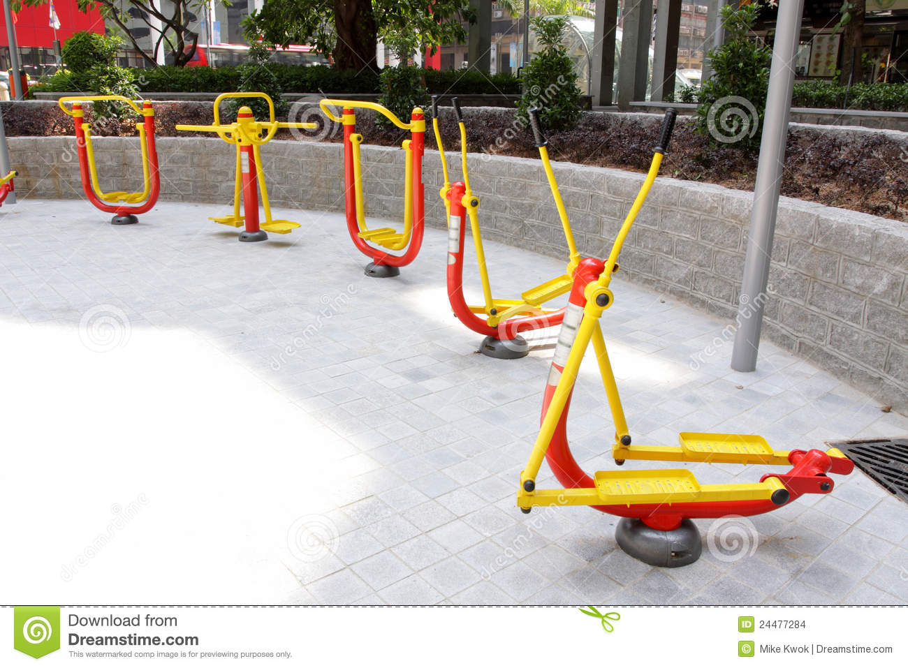 Outdoor Fitness Equipment : Outdoor exercise equipment stock photo image of trainer
