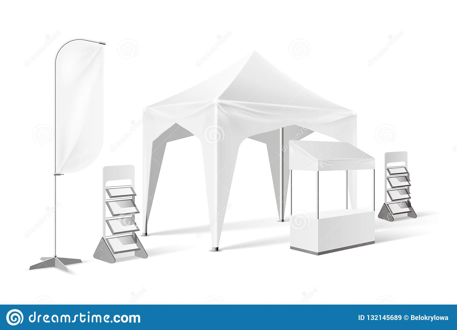 Vector Outdoor Exhibition Tent Pop Up Marquee Mock Stock Vector