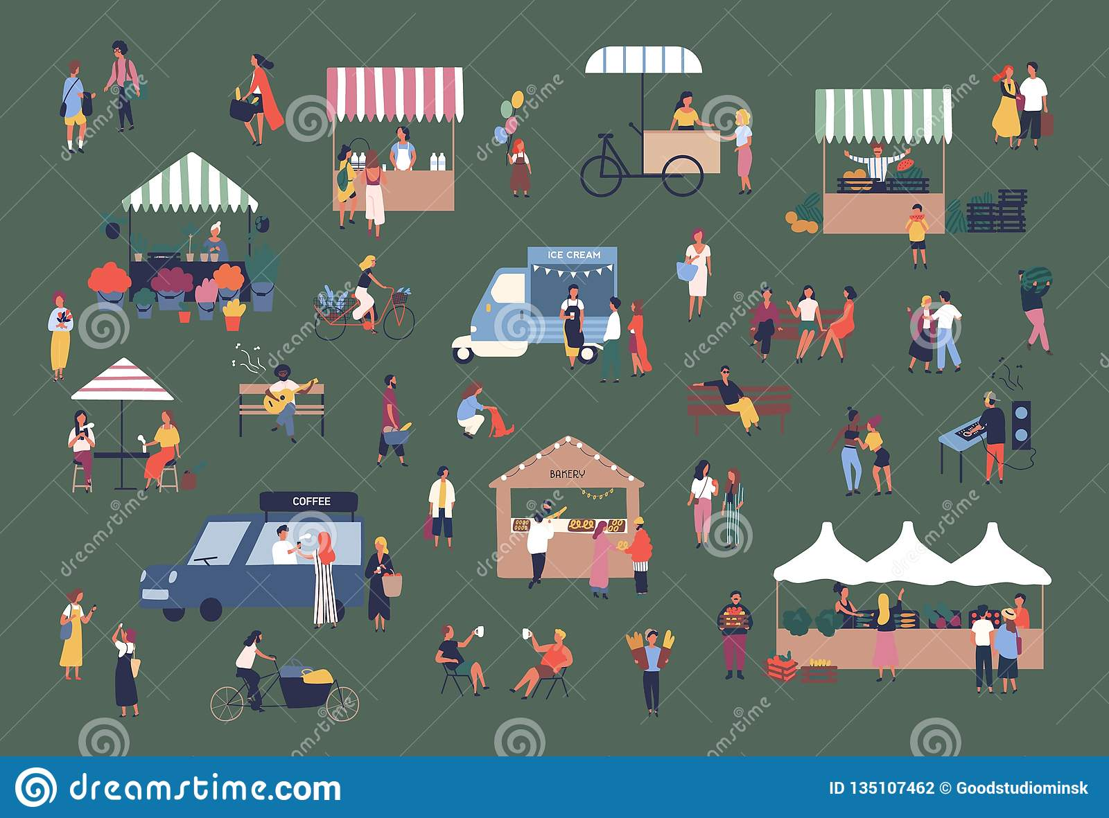 Outdoor fair, market or street food festival. Men and women walking between stalls, kiosks and vans, buying products