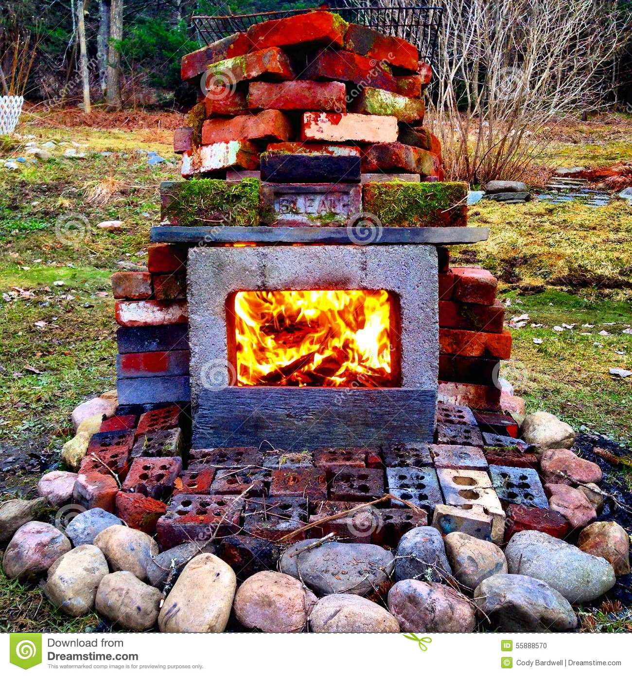 Outdoor Fireplace Stock Photo - Image: 55888570