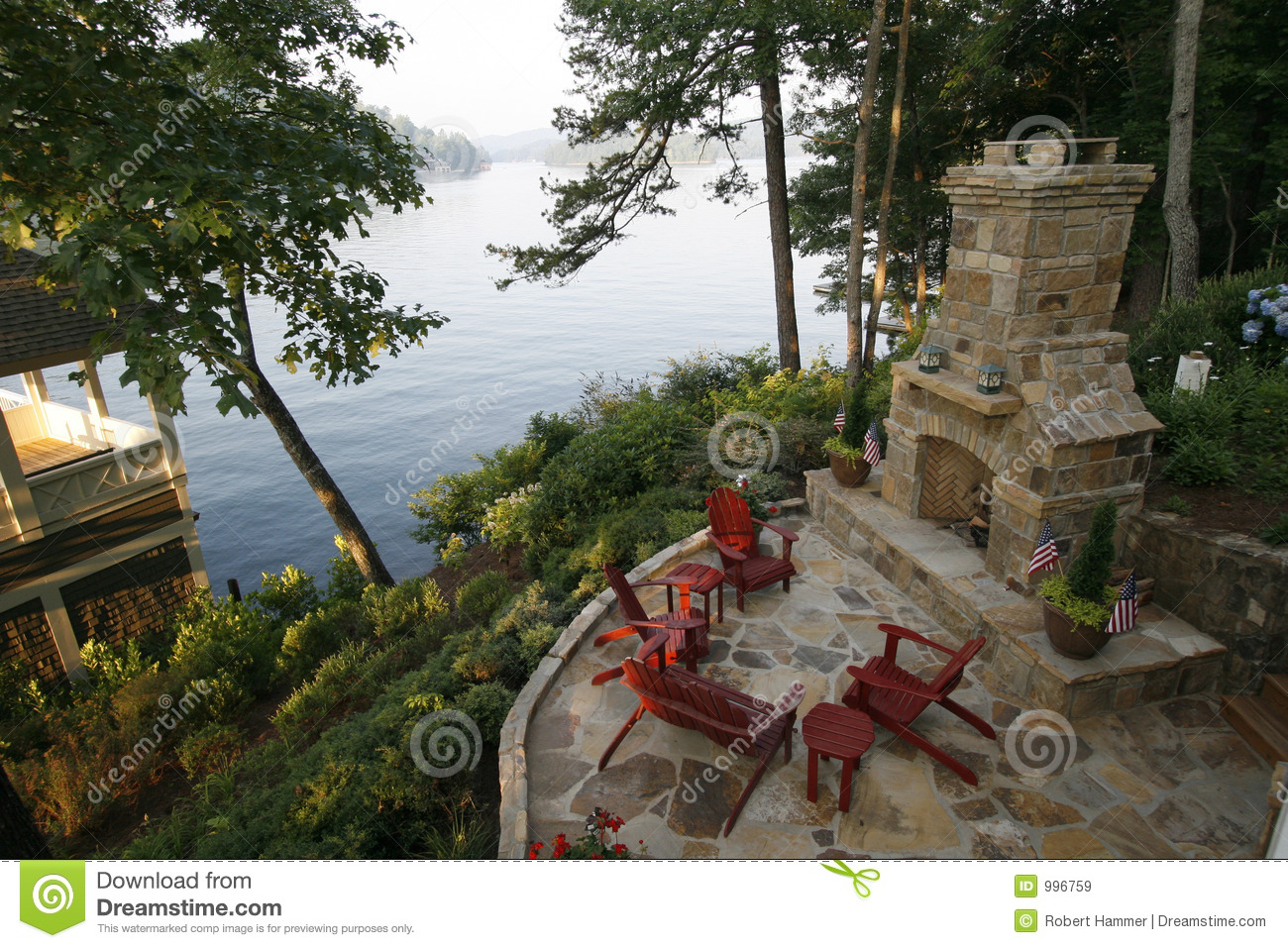 Outdoor Fireplace and Patio & Outdoor Fireplace And Patio Stock Image - Image of morning grout ...