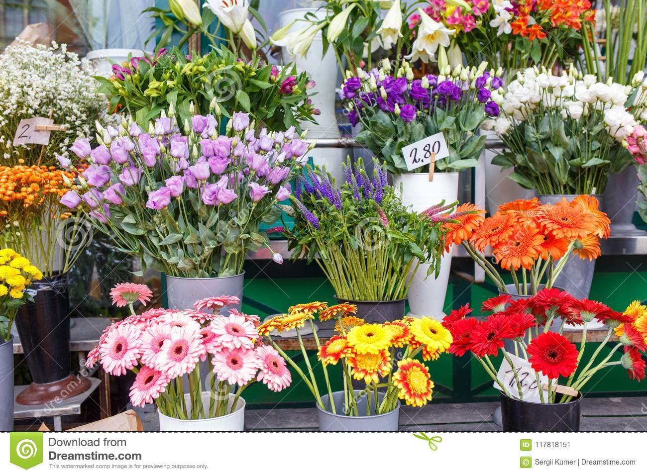 Outdoor Flower Shop With Roses Peonies And Lilies Stock Image