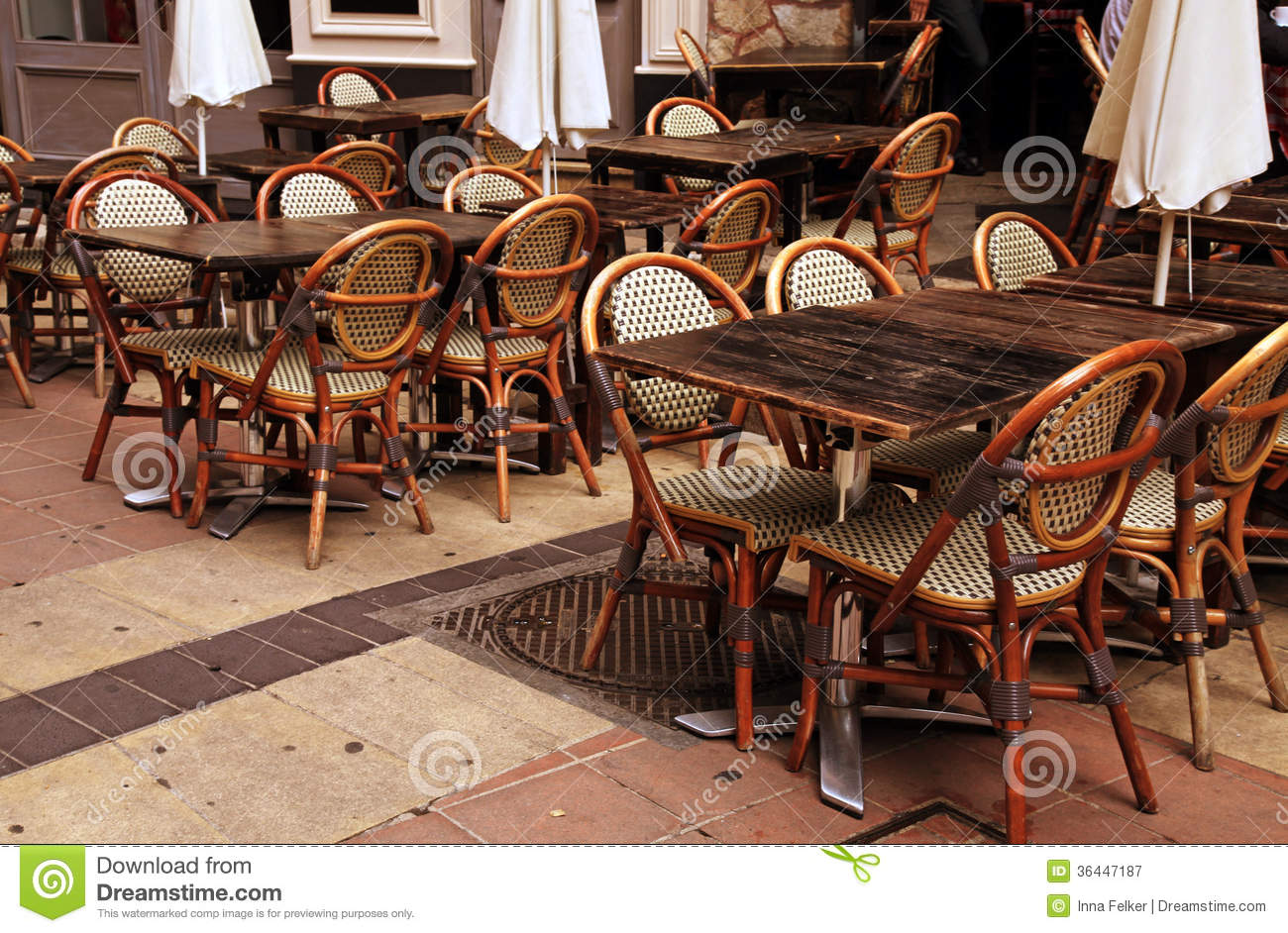 Outdoor French Cafe In Old Town Of Nice France Stock