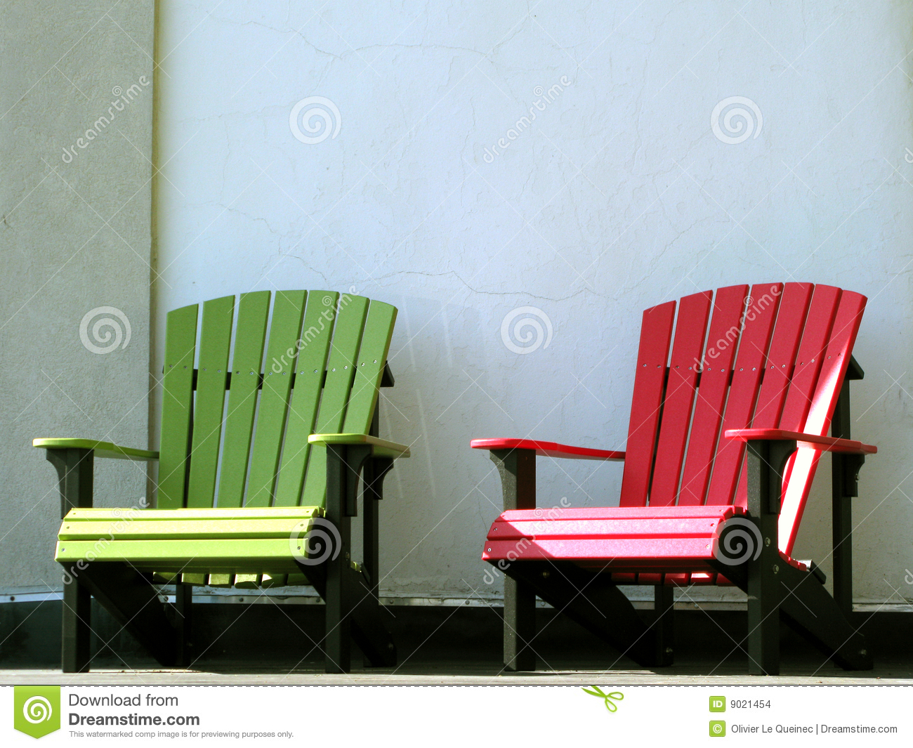 Outdoor Furniture Adirondack Chairs on House Porch