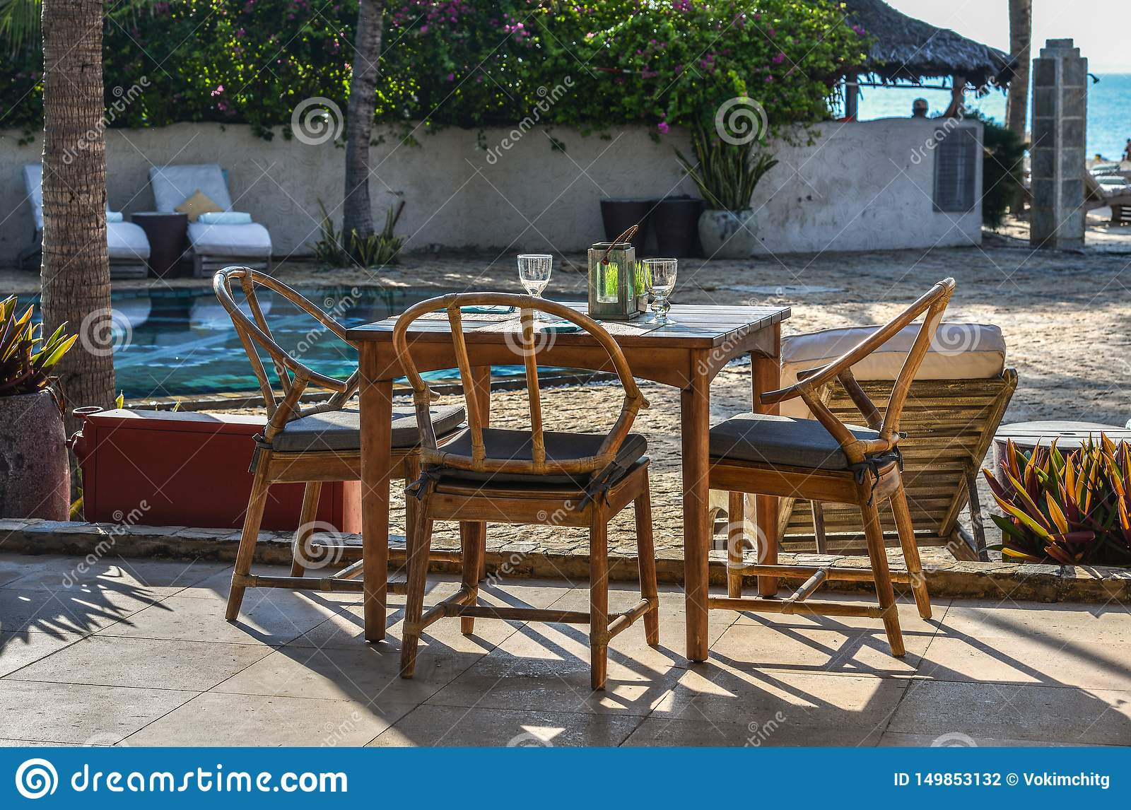 Outdoor Furniture In The Luxury Restaurant Stock Photo Image Of Decoration Beautiful 149853132