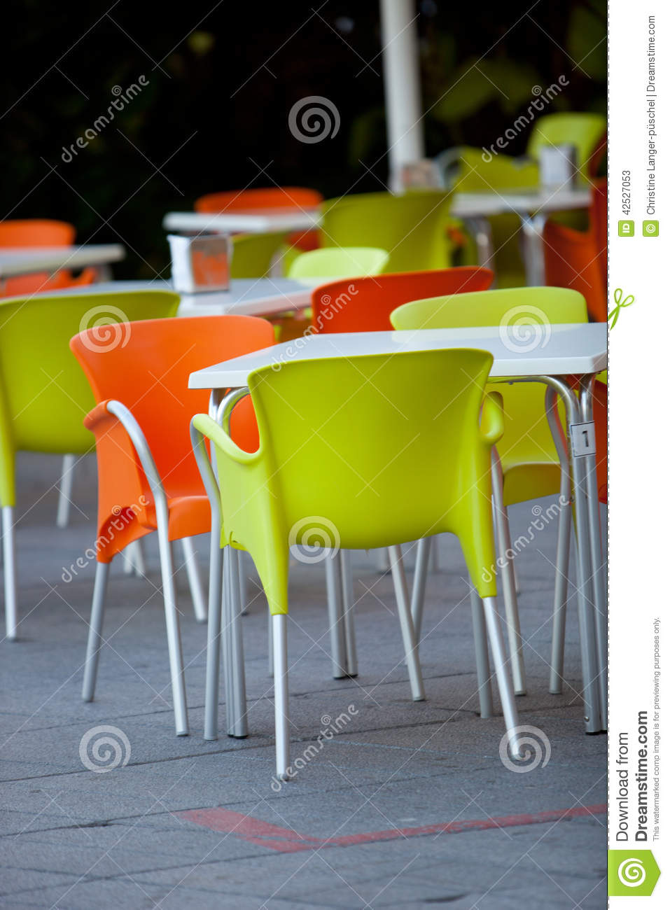 Outdoor Furniture Of A Restaurant Or A Cafeteria Stock Photo - Restaurant outdoor furniture