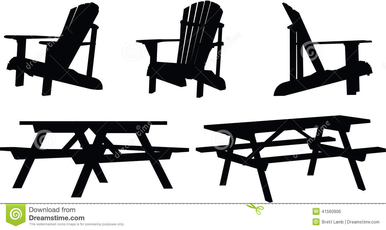 outdoor furniture silhouette set picnic tables chairs