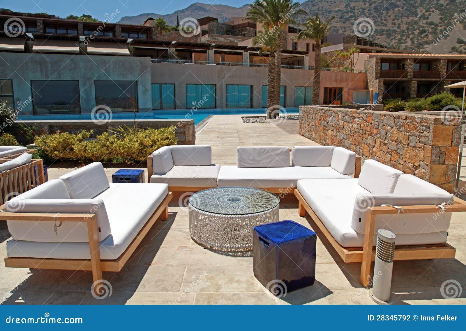 Outdoor Furniture In Summer Resort Greece Stock