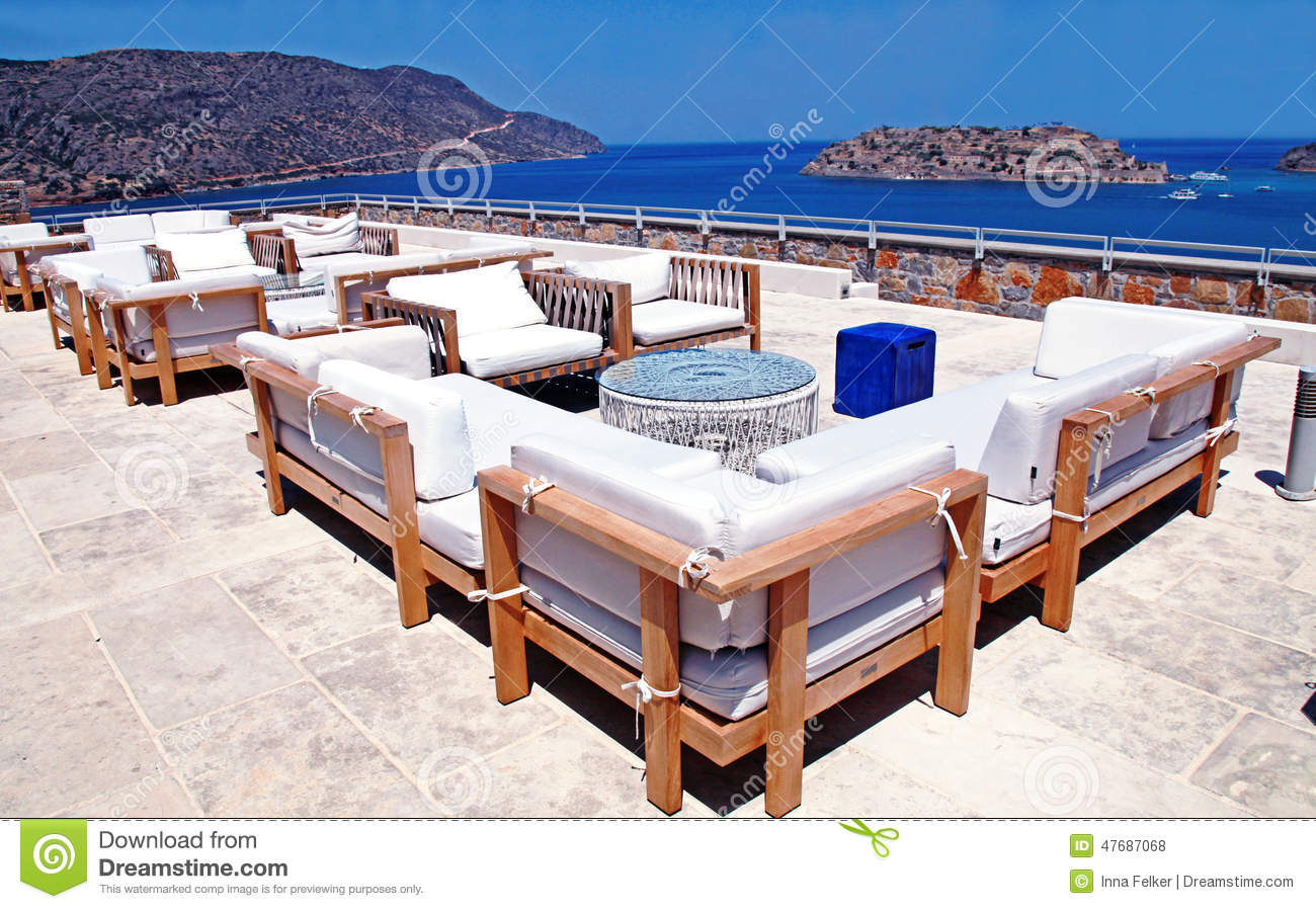 Outdoor Furniture And Terrace Seaview Crete Greece Stock Image