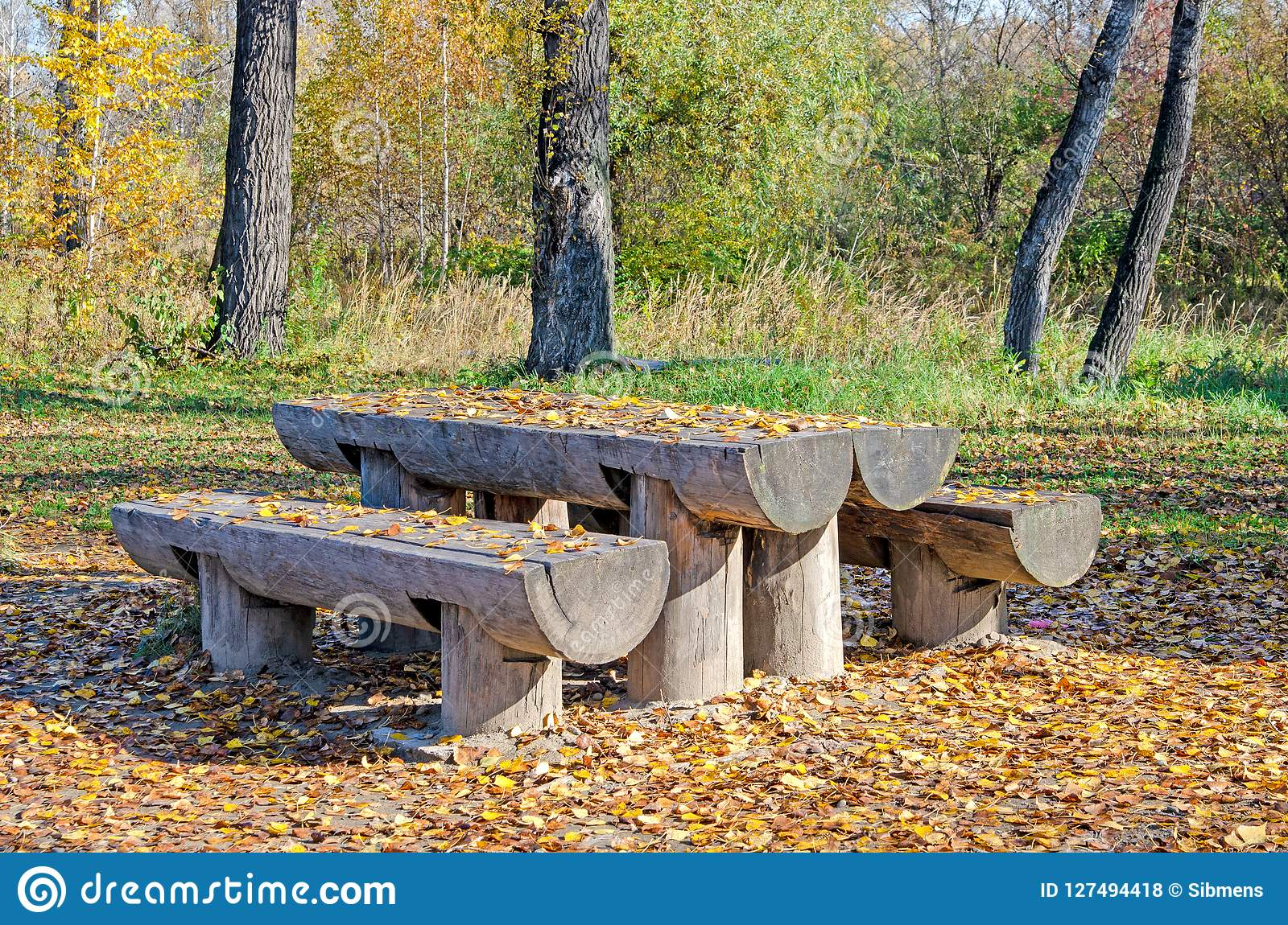 Outdoor Furniture From A Tree For A Garden Benches And A Table Stock Photo Image Of Autumn Background 127494418