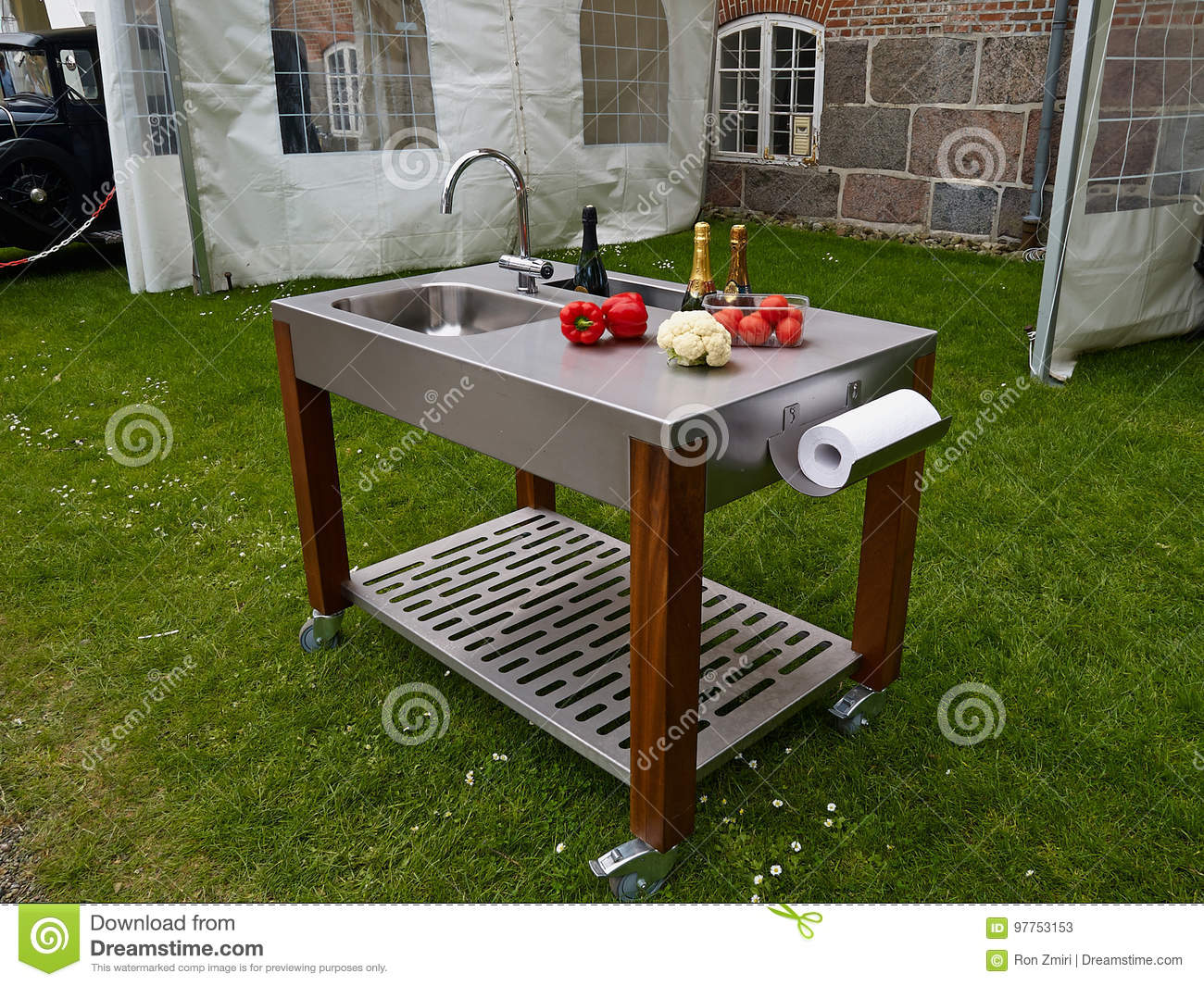 05714919b8 Modern trendy design outdoor garden kitchen on wheels made from metal and  wood