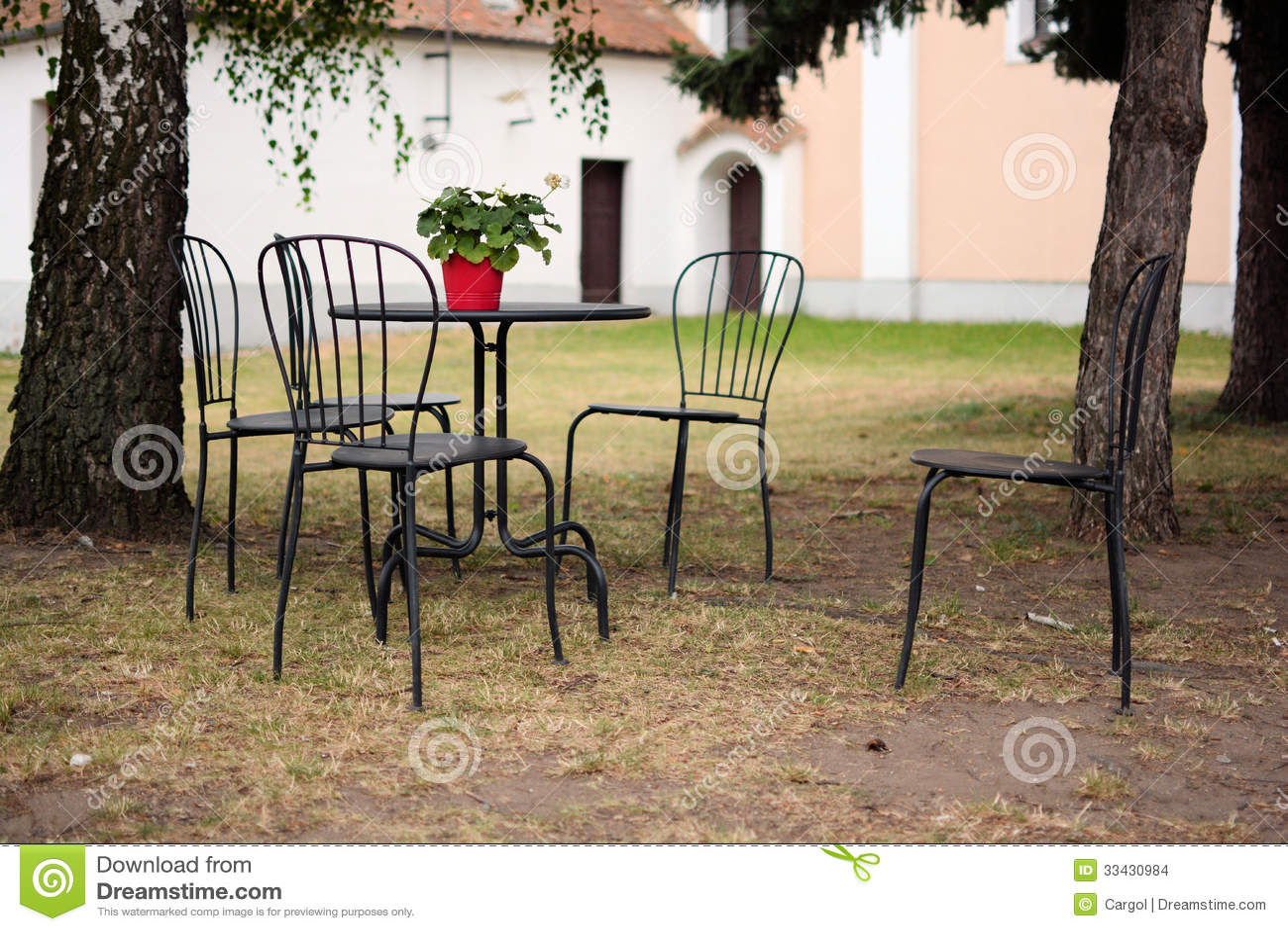 Outdoor Garden Patio Furniture Stock Photo - Image of nature ...