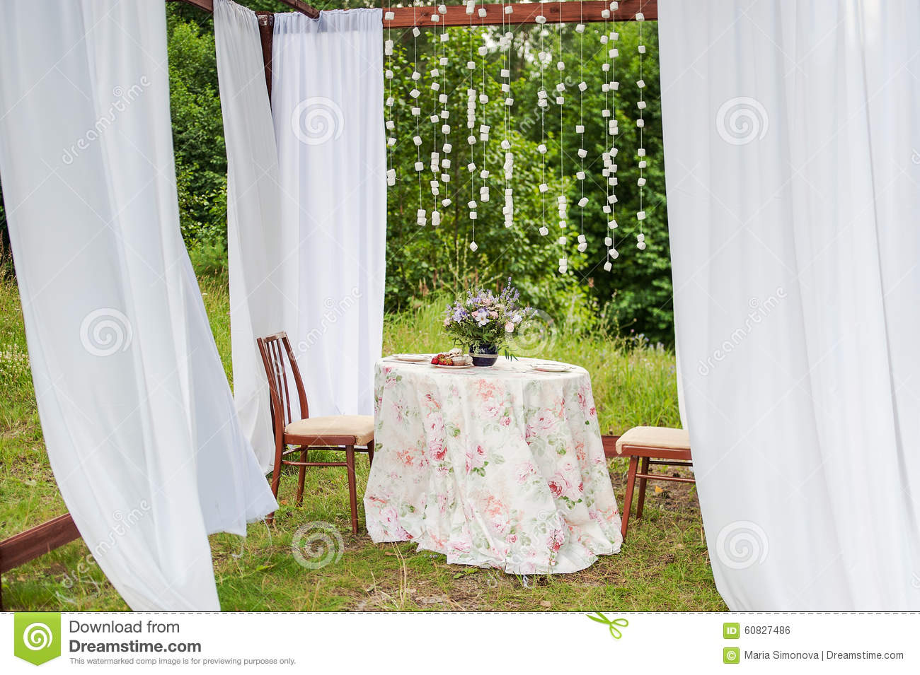 Outdoor Gazebo With White Curtains Wedding Decorations Stock Photo Image 60827486