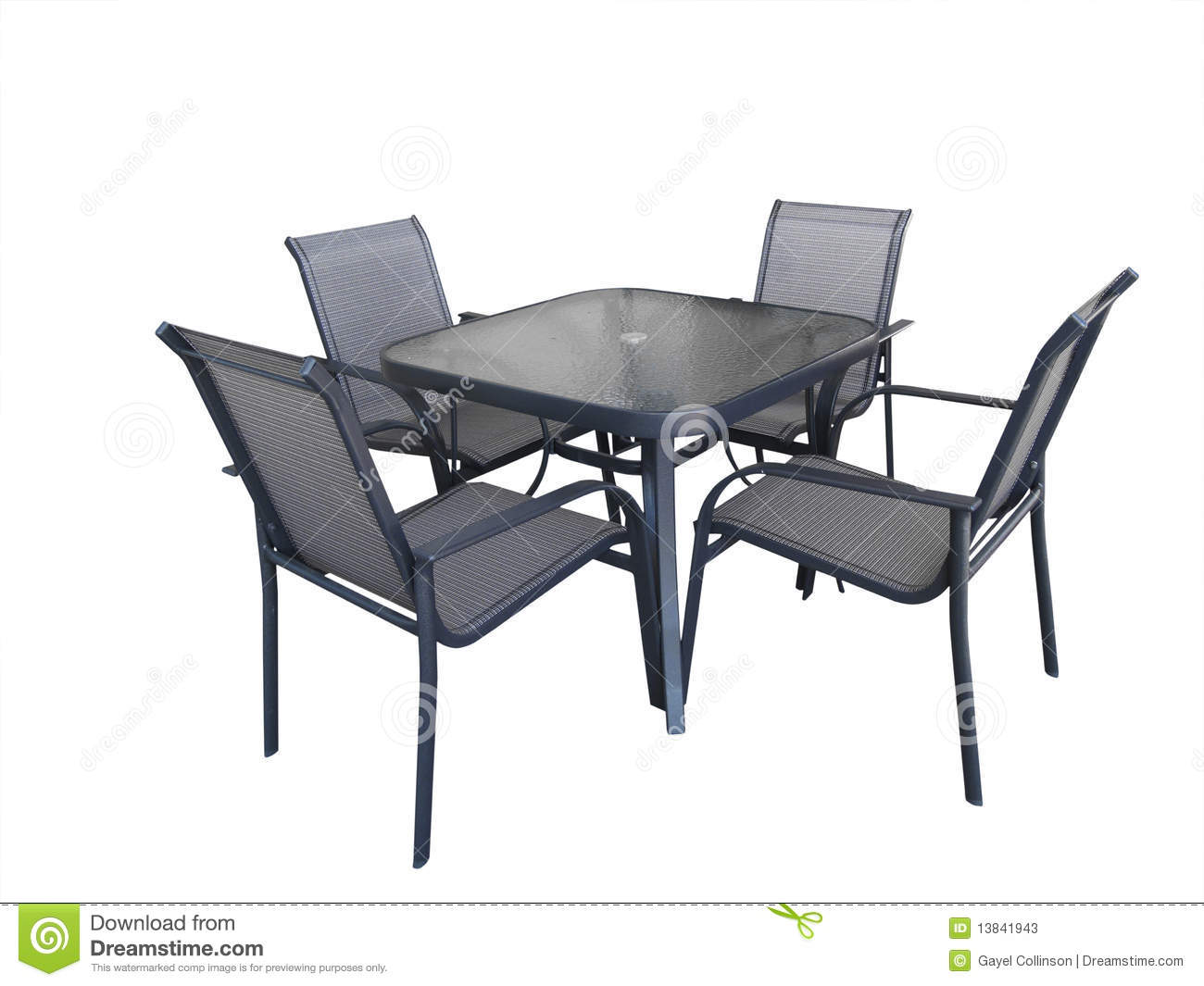 Outdoor glass table and chairs stock photos image 13841943 for Garden table and chairs