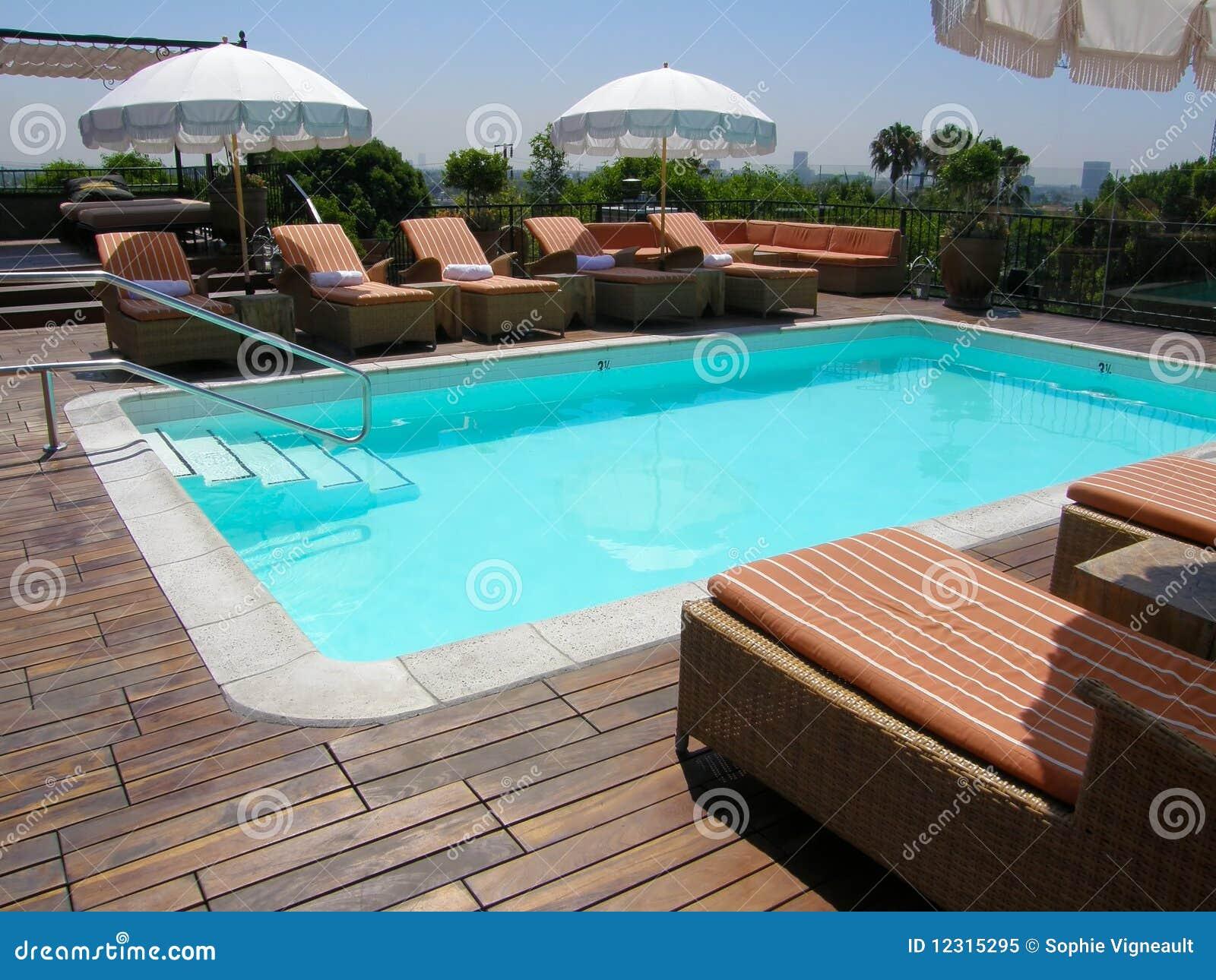 Outdoor in ground pool stock image image of deck outdoor for Garden treasures pool clock