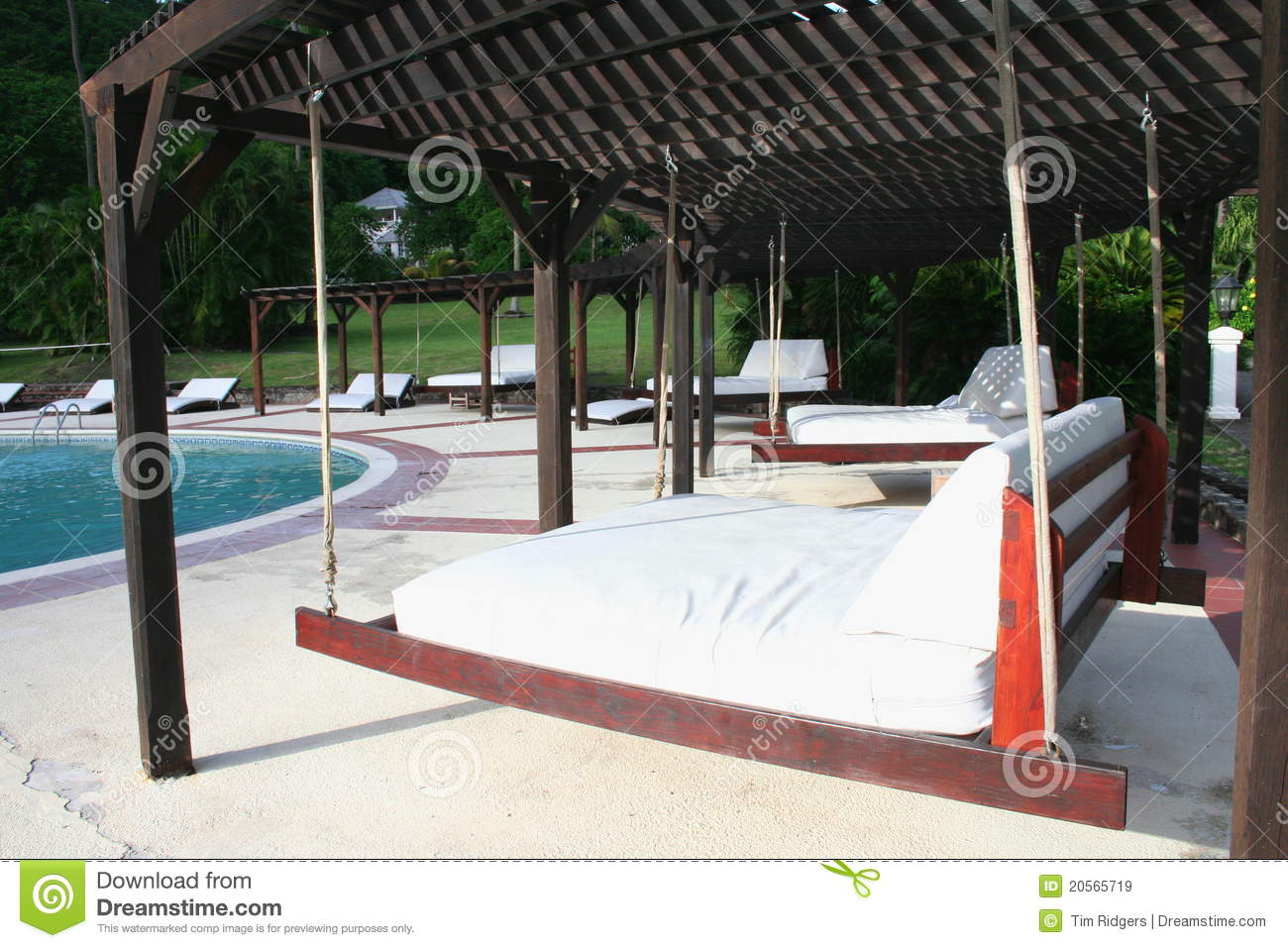 Outdoor hanging beds royalty free stock images image for Outdoor pool bed
