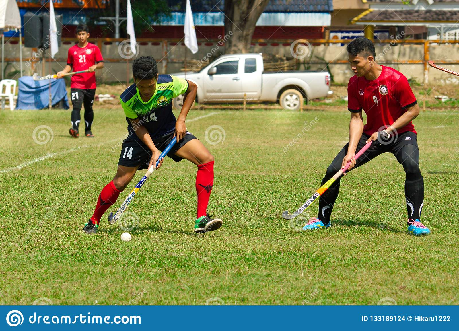 Outdoor Hockey. Hockey player in action during the Thailand National Games