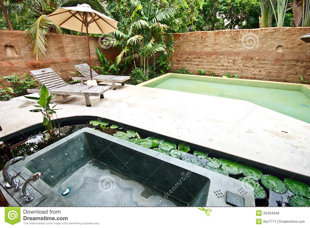 outdoor jacuzzi bathtub in garden 3 royalty free stock photos image 26494948. Black Bedroom Furniture Sets. Home Design Ideas