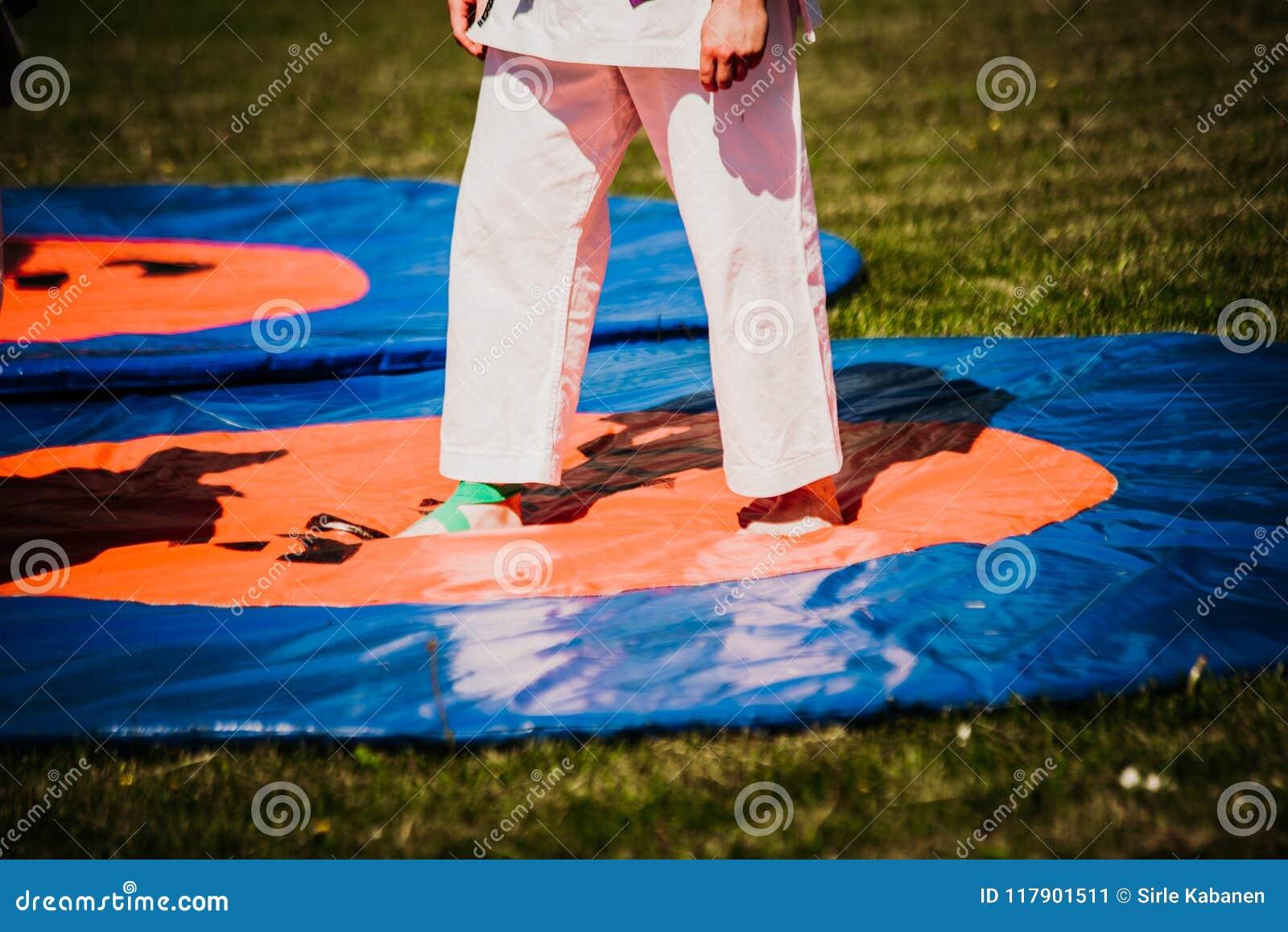 outdoor kids karate judo in action