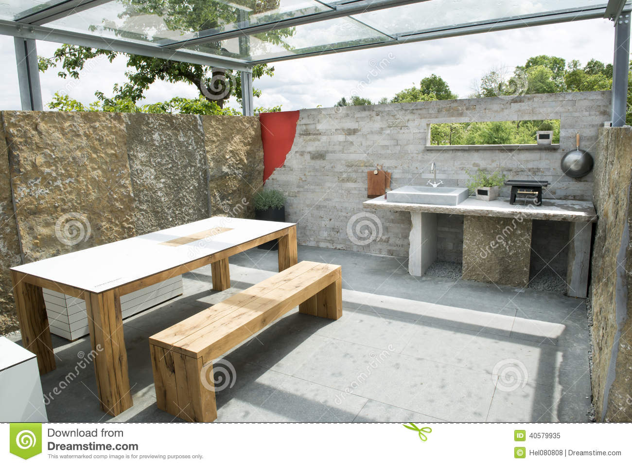 Outdoor Kitchen Stock Image Image Of Table Stones Plants