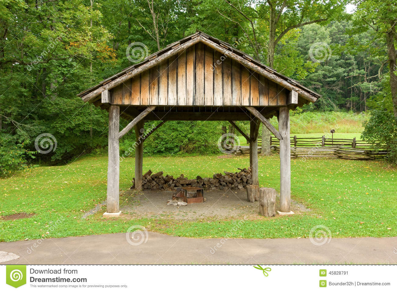 An Outdoor Kitchen Used By Early Settlers Stock Photo