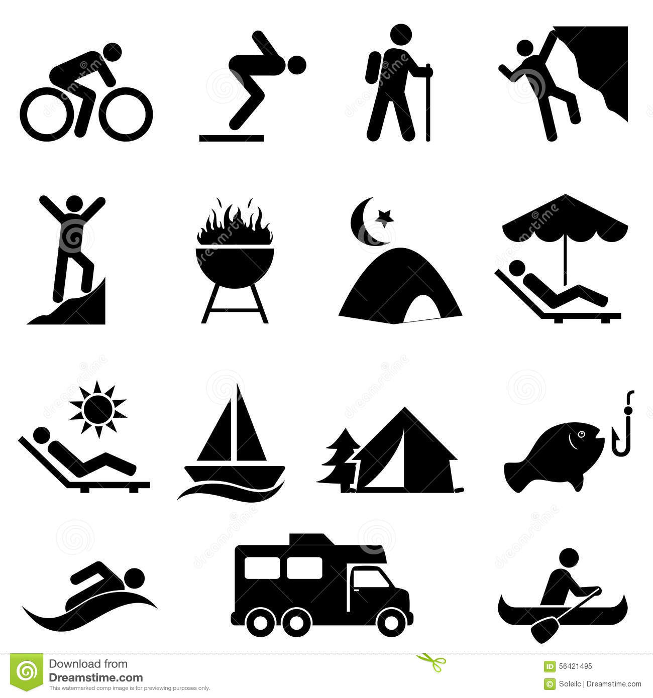 Outdoor Leisure And Recreation Icons Stock Vector Image 56421495