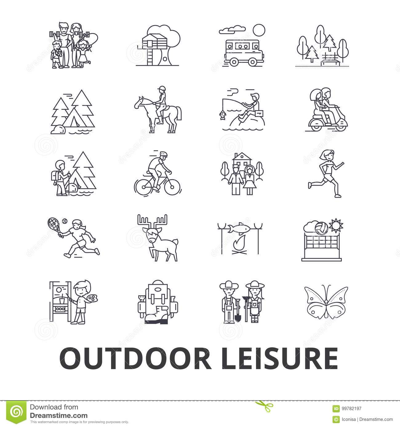 Outdoor leisure related icons