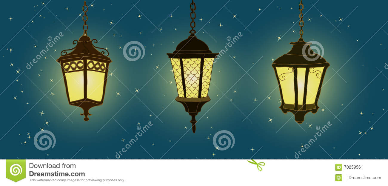 Outdoor Lighting Hanging Lantern Hand Drawn Lantern Stock Vector Illustration Of Glow Night 70259561