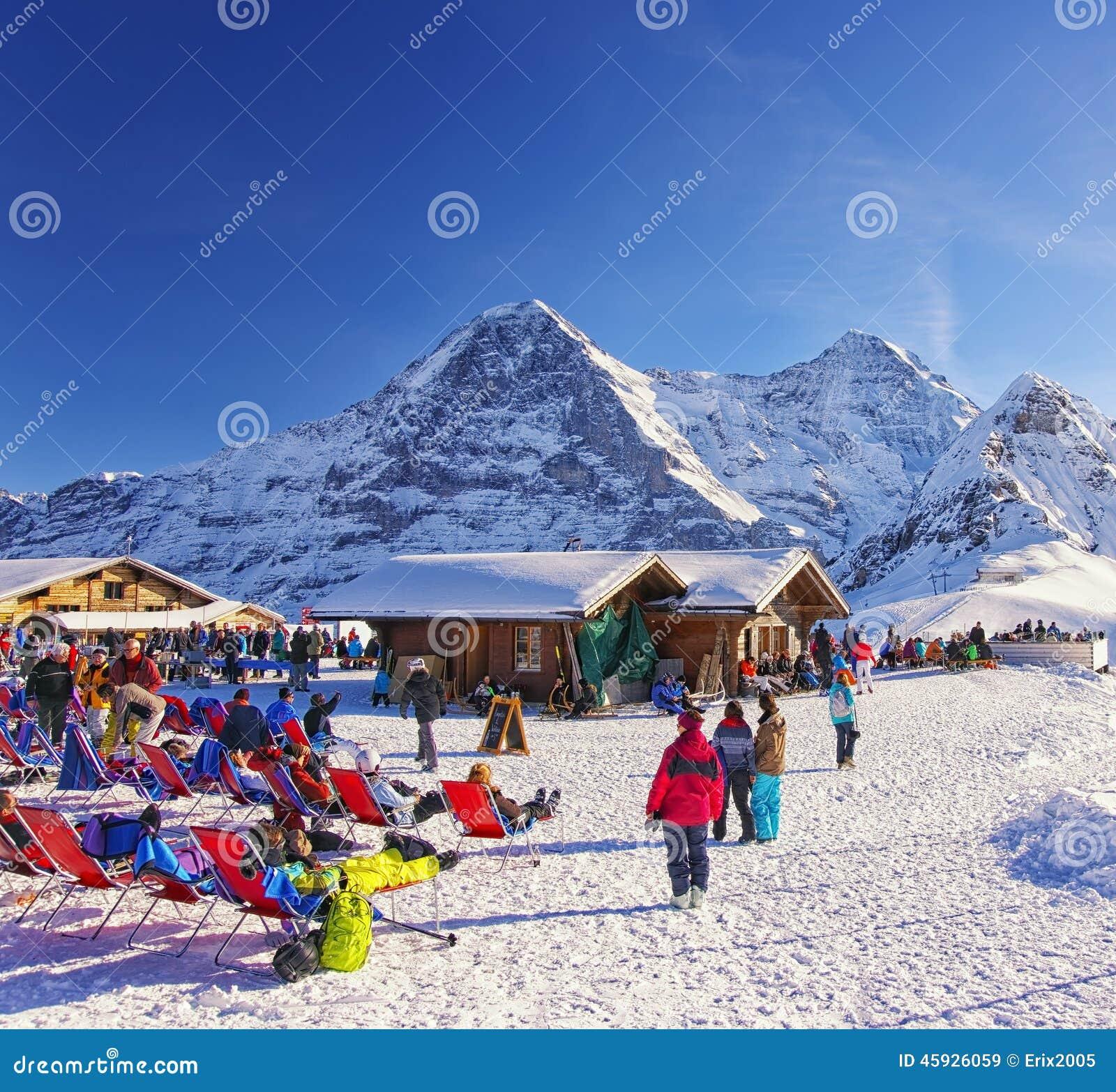 Outdoor lounge on winter sport resort in swiss alps editorial stock download comp publicscrutiny Gallery
